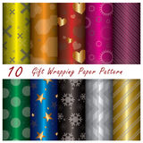 10 Gift Wrapping Paper Pattern. Design Template Stock Photography
