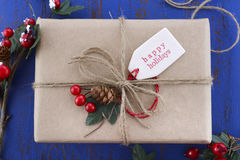 Gift wrapping presents on dark blue table. Stock Images