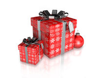 Gift wrapping red paper with ribbon Stock Photos