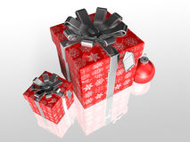 Gift wrapping red paper with ribbon Royalty Free Stock Photography