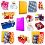 Gift wrapping and shopping bag Royalty Free Stock Photography