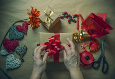 Gift wrapping. A symbol of love royalty free stock images