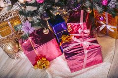 Gift wrapping under the tree. Gift wrapping under the New Year tree Stock Photography