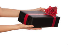 Gift with yellow bow Stock Photography