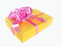 Gift in a yellow box Stock Image