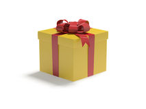 Gift in the yellow box. The yellow box tied with a red satin ribbon bow. A gift for Christmas, Birthday, Wedding, or Valentine's day royalty free illustration