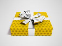 Gift in yellow paper with bow 3d rendering on gray background wi. Gift for a holiday, a gift for the new year, a gift for an anniversary, a gift in a paper Royalty Free Stock Image