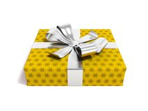 Gift in yellow paper with bow 3d rendering on white background w. Gift for a holiday, a gift for the new year, a gift for an anniversary, a gift in a paper Royalty Free Stock Images
