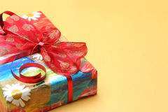Gift for you. Gift wrapped and ribbon bow Stock Image