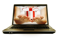 Gift for you. Gift for laptop Royalty Free Stock Photo