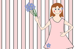 A gift for you. Little girl holding a flower bouquet vector illustration