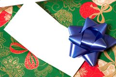 Gift for you 4. A christmas present with a blank card on it Stock Photography