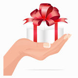 Gift for you hand holding gift box Royalty Free Stock Photography
