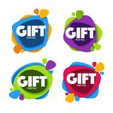 Gift For You, vector collection of bright congratulation bubble Stock Image