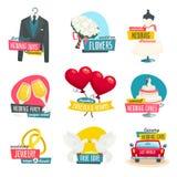 Gifta sig anmärker etikettuppsättningen, samlingen av bröllopemblememblem, tecknad filmvektorillustration arkivfoto