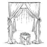Gifta sig bågen Bröllopaltare garnering vektor illustrationer