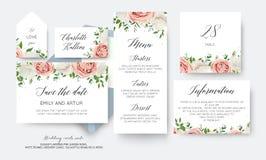 Gifta sig blom- räddning datumet, meny, etikett, stort tabellnummerkort vektor illustrationer