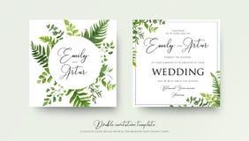 Gifta sig blom- vattenfärgstildubblett invitera, inbjudan, räddning royaltyfri illustrationer