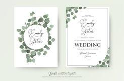 Gifta sig blom- vattenfärgstildubblett invitera, inbjudan, sparar datumkortdesignen med gulliga eukalyptusträdfilialer med gräspl vektor illustrationer