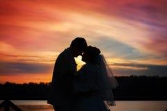 Gifta sig bruden och brudgummen på solnedgången royaltyfri bild