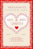 Gifta sig certifikatet, diplom royaltyfri illustrationer