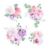 Gifta sig delikata gåvabuketter i lila-, rosa färg- och vitsignaler royaltyfri illustrationer