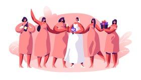 Gifta sig den berömbrudtärnan och fästmön royaltyfri illustrationer