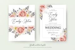 Gifta sig den blom- dubbla vattenfärgen invitera, inbjudan, sparar daen vektor illustrationer