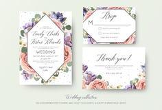 Gifta sig den blom- inbjudan, rsvp, tacka dig att card elegant botanica stock illustrationer