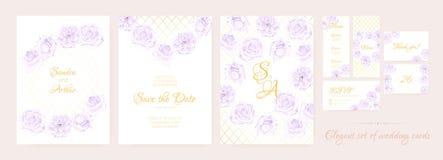 Gifta sig den blom- samlingen för inbjudan royaltyfri illustrationer