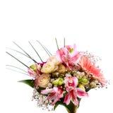 Gifta sig den brud- buketten av vita rosor och rosa färger Fotografering för Bildbyråer