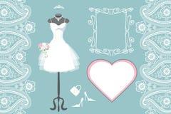 Gifta sig den brud- klänningen med ramen, etikett, paisley Royaltyfri Foto