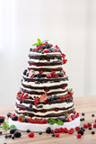 Gifta sig den lantliga nakna kakan med frukter på träbakgrund Royaltyfria Bilder
