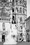 Gifta sig den sexiga kvinnan nära kast på den utomhus- slotten royaltyfria bilder