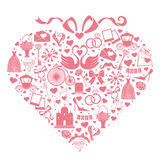 Gifta sig designsymboler för rengöringsduk och mobilen i hjärtasammansättning Royaltyfria Foton