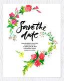 Gifta sig det blom- vattenfärgkortet spara datumet Royaltyfri Bild