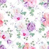Gifta sig det delikata sömlösa vektortrycket i lila-, rosa färg- och vitsignaler royaltyfri illustrationer