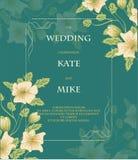 Gifta sig det vita inbjudan- eller hälsningkortet med blommor teckningen hand henne morgonunderkläder upp varmt kvinnabarn för il stock illustrationer