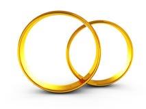Gifta sig guld- cirkelpar på vit bakgrund Royaltyfria Foton