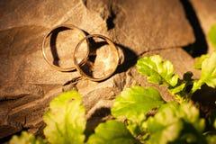 Gifta sig guld- cirklar på en vagga Fotografering för Bildbyråer
