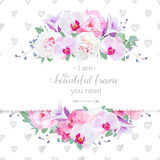 Gifta sig horisontalkortet för blom- vektordesign Rosa och vit pion, purpurfärgad orkidé, vanlig hortensia, violett klockblommabl Royaltyfria Bilder