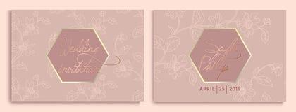 Gifta sig inbjudan med blommor och sidor på guld, mörk textur lyxigt gifta sig kort på guld- bakgrunder, konstnärlig räkningsdesi royaltyfri illustrationer