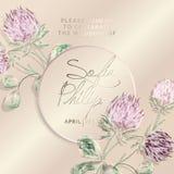 Gifta sig inbjudan med blommor och sidor på guld, rosa textur täcker det lyxiga kortet 1d på guld- bakgrunder, design n stock illustrationer