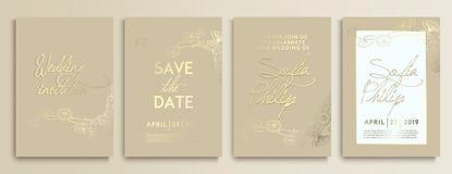 Gifta sig inbjudan med blommor på guld- textur det lyxiga gifta sig kortet på guld- bakgrunder, konstnärliga räkningar planlägger royaltyfri illustrationer