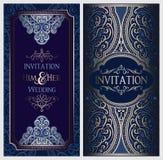 Gifta sig inbjudankortet med guld- skinande östlig och barock rik lövverk Utsmyckad islamisk bakgrund för din design Islam arabis stock illustrationer
