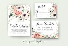 Gifta sig invitera, inbjudan, rsvp, sparar datumkortdesignen med royaltyfri illustrationer