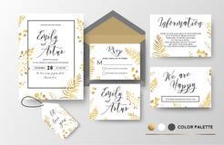 Gifta sig invitera, inbjudan, tacka dig, rsvp, etikettkortvektor f royaltyfri illustrationer
