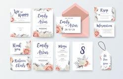 Gifta sig invitera, inbjudanmenyn, tacka dig, rsvp, etikettkortvec royaltyfri illustrationer