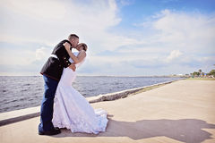 Gifta sig kyssen arkivbilder