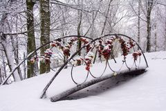 Gifta sig lås på räcket av den dekorativa bron arkivbild